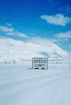 Deep snow buries  Speed Sign