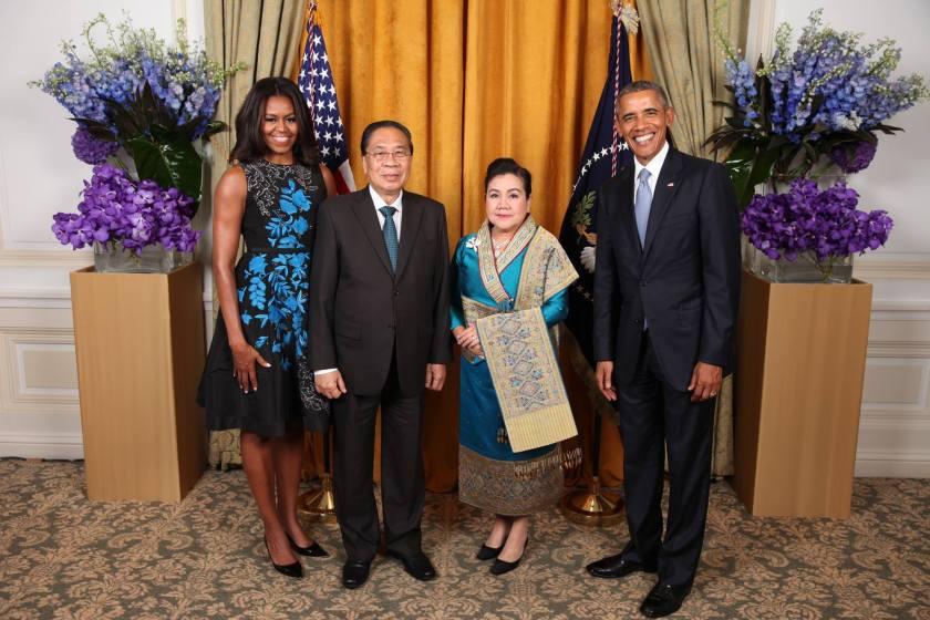 President Barack Obama and First Lady Michelle Obama and Laos President Choummaly Sayasone and Madame Keosaychay Sayasone in New York City, 2015 (Photo: US Embassy Vientiane)